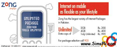 Zong Mobile Internet Bundles