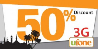Ufone gives 50% discount on 3G package in Ramzan