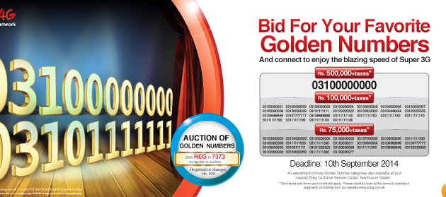 Get Register Yourself for Bidding Process of Zong Golden Number