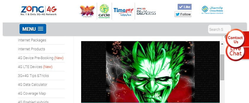 Defaced and Hacked Zong Webpage