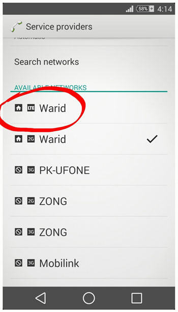 Warid 4G Coverage Area