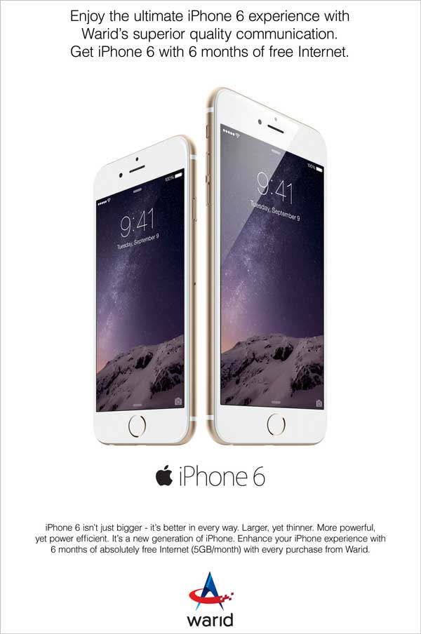 Warid Offers iPhone 6 with 5 GB Free