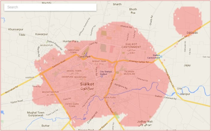 Warid 4G LTE Coverage Map In Sialkot