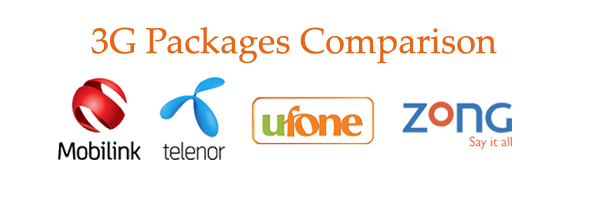 Comparison of Mobilink, Zong, Telenor, Ufone Postpaid 3G Packages