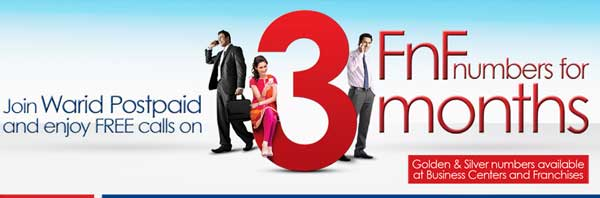 Warid Postpaid Brings Unlimited Free Calls on 3 FnF Numbers