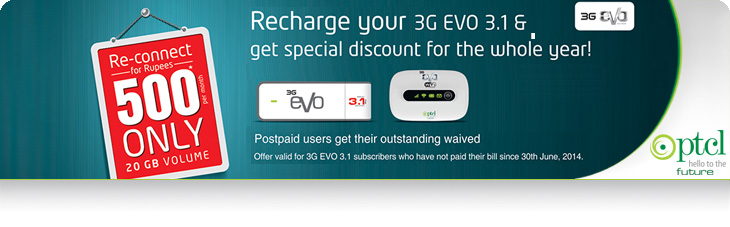 PTCL Offers Amazing Discount on Reconanecting 3G EVO 3.1