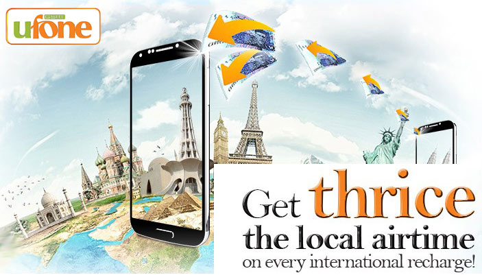 Ufone Internatio​nal Recharge Offer - Get 200% Extra Airtime