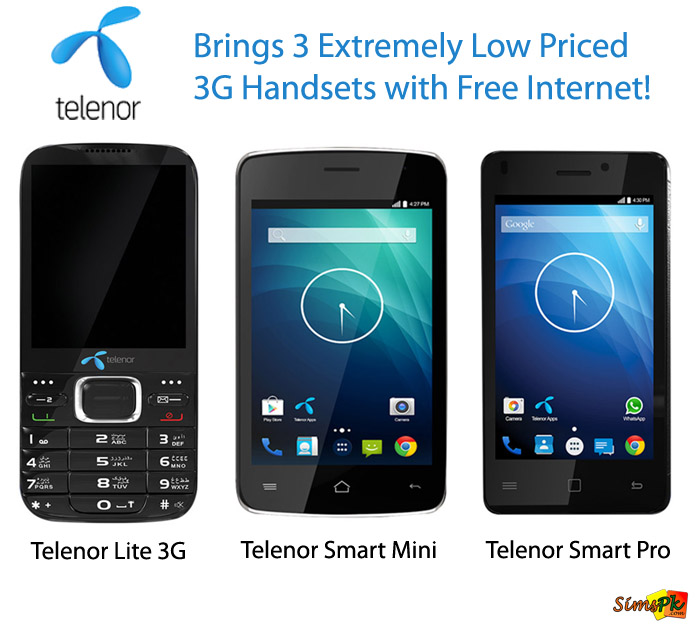 Telenor Brings 3 Extremely Low-Priced 3G Handsets with Free Internet